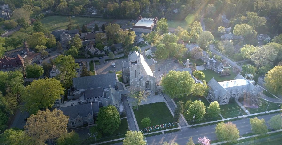 Aerial photo of the campus of Bryn Mawr Presbyterian Church campus