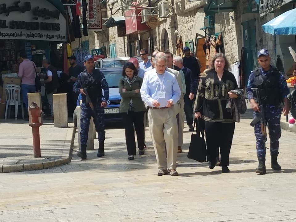 Rebecca visiting Bethlehem in 2018 with a group of Christian and Jewish clergy.