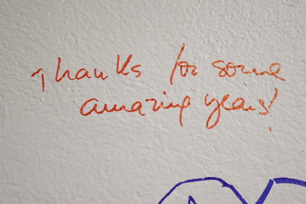 Writing on the walls of the Education Building.