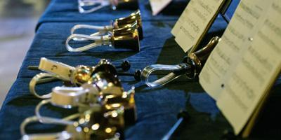 Handbells on table at Bryn Mawr Presbyterian Church