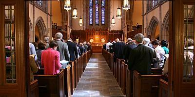 Indoor photo of congregation in Bryn Mawr Presbyterian Church Sanctuary