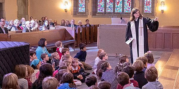 The Reverend Rachel Pedersen presents the Children's Moment during a worship service at Bryn Mawr Presbyterian Church